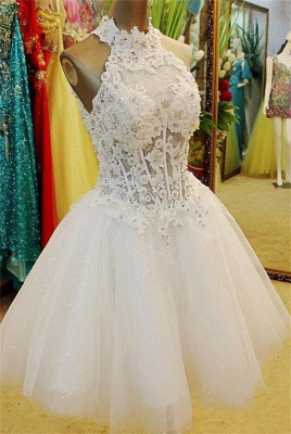 A-Line Halter White Mini Wedding Dress New Arrival Lace Flower Short Tulle Bridal Gowns BA7308_1