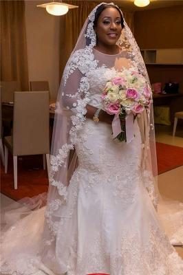 Half-Sleeve Scoop Mermaid Lace Appliques Sheer Tulle New Wedding Dresses_5