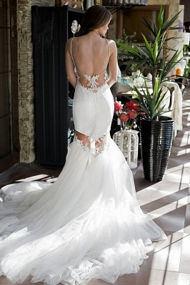 Sexy Backless Mermaid Wedding Dresses | Spaghetti Straps Appliques Bridal Gowns_4