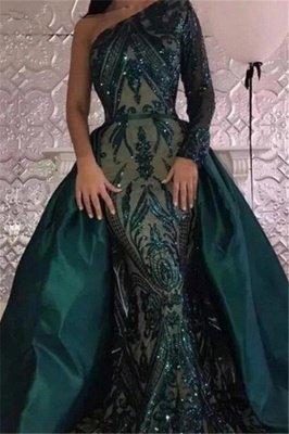 Glamouröse One Shoulder Pailletten Abendkleider mit Ärmeln | Dunkelgrüne Meerjungfrau Abendkleider mit Überrock BA7441_1