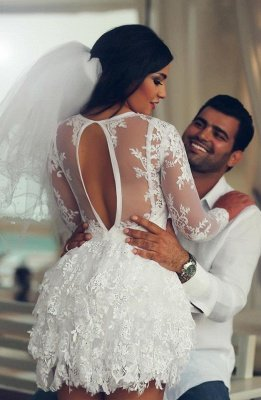 Mini Long Sleeve Lace Wedding Dresses Scoop A-Line Sexy Bridal Gowns_4