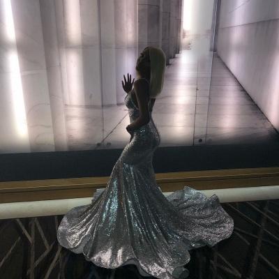 Atacado Spaghetti Straps Sparkly Silver Sequins Prom Dresses | Sexy com decote em V aberto volta desconto vestidos de noite_4