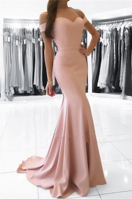 Mermaid Pink Off The Shoulder Formal Dress Simpe Elegant Long Evening Dress 2018 FB0082