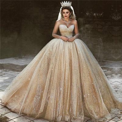 فاخر الشمبانيا الذهب الزفاف الالبسه   الترتر الأميرة الكرة بثوب فساتين الزفاف الملكي_3