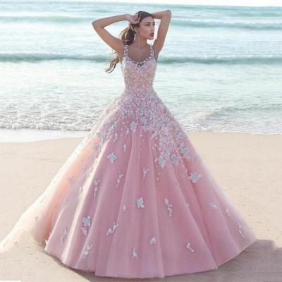 Elegante Rosa Abendkleider Blumen   Wunderschöne Spitze Abendmode A-Linie_3