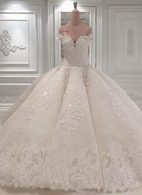 Strapless Sparkle Luxury Train See-through Ball Gown Wedding Dress