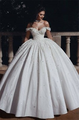 Schulterfrei Perlen Applikationen Brautkleider 2019 | Prinzessin Sexy Ballkleid Royal Wedding Dress Günstige