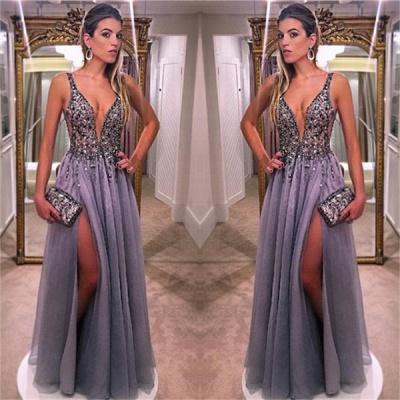 Gorgeous V-Neck A-line Prom Dresses Sleeveless Crystal Side Slit Evening Dresses_3
