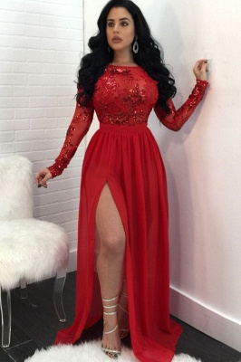 Sexy Long Sleeves Appliques Prom Dresses | Open Back Side Slit Sequined Evening Dress SK0181_3