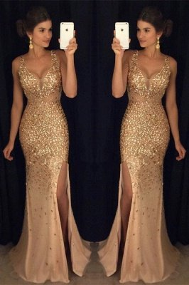 Gorgeous Crystals Mermaid Front-Split Straps Long Sleeveless Prom Dress