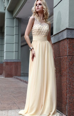 Newest A-line Chiffon Sleeveless Jewel Beads Zipper Prom Dress