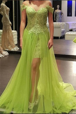 Popular Off-the-Shoulder Tulle Lace A-line Prom Dress
