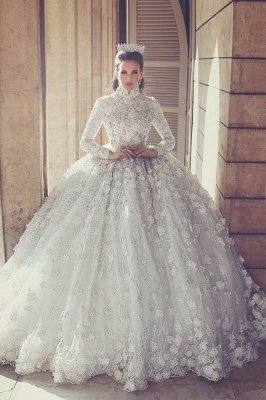 Lace Vintage Wedding Dresses with Sleeves | Luxury Ball Gown Dresses for Weddings with Appliques