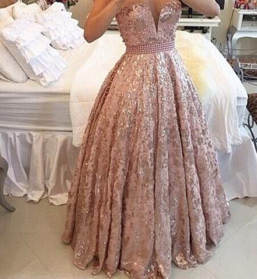 Sexy Rosa Abendkleider A-Linie | Schöne Schulterfrei Abendmode Glitzer_3