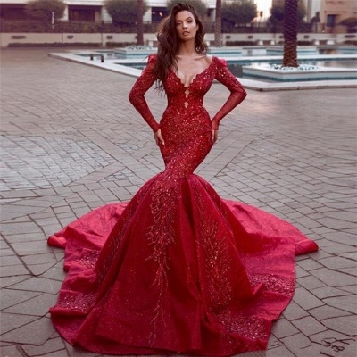 Stunning Long Sleeves Mermaid Evening Dresses with Train | Hot Backless Lace Crystal Prom Dresses BC0669_3