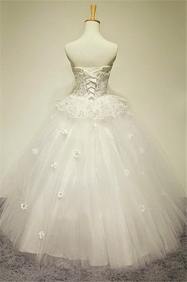White Sweetheart Crystal Ball Gown Wedding Dress Applique Elegant Sexy Lace-up Tulle Bridal Gown_2