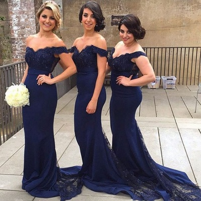 Elegant Blue Off the Shoulder Lace Wedding Party Dress Mermaid Sweep Train Bridesmaid Dresses_4