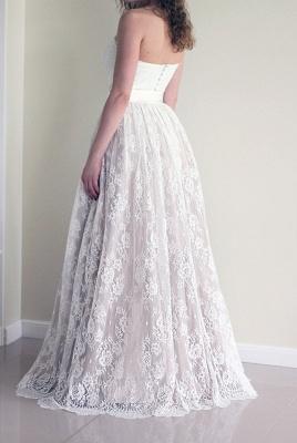Simple Sweetheart Lace A-line Sash Sleeveless Long Wedding Dress_3