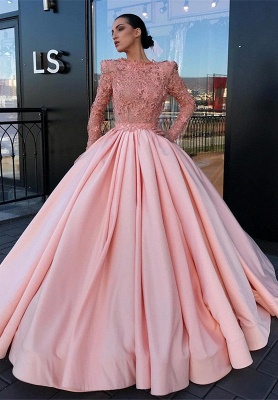 b310bfa542 Long Sleeve Ball Gown Pink Prom Dress