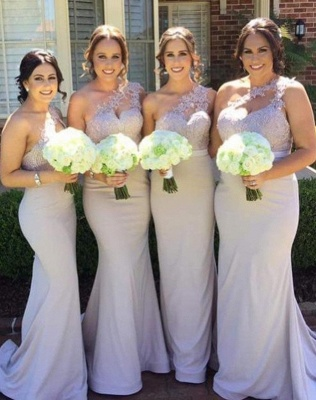 Elegant Mermaid Bridesmaid Dresses | One-Shoulder Lace Long Wedding Party Dresses_1