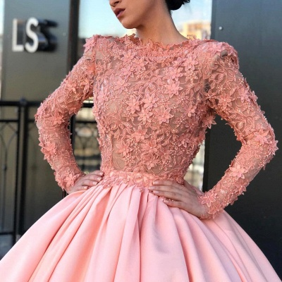 Long Sleeve Ball Gown Pink Prom Dress | Appliques Pink Evening Gowns_4