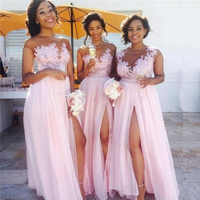 Pink Lace Chiffon Sexy Bridesmaid Dresses Splits Long Dress for Maid of Honor Online BA6919_3
