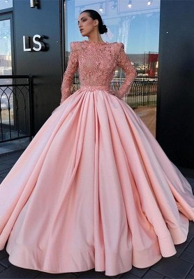 Long Sleeve Ball Gown Pink Prom Dress | Appliques Pink Evening Gowns_1