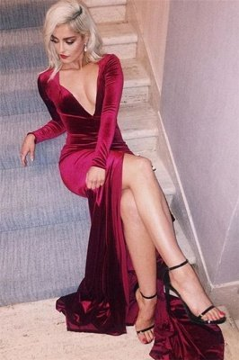 Sexy Deep-V-Neck Long-Sleeves Side-Slit Velvet Prom Dress_1