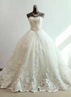 Sequined Lace-Up Sweetheart Wedding Dresses Charming Sleeveless Ball Gown Bridal Dresses_1