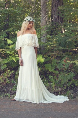 Off The Shoulder Bohemian Wedding Dresses Lace Summer Beach Wedding