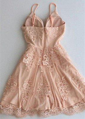 Elegant A-line Spaghetti Straps Homecoming Dresses Short Zipper Party Dress_3