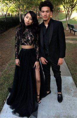 Two Piece Long Sleeve Evening Gown Black Sexy Slit Lace Prom Dress SP0349
