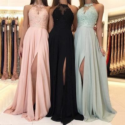 Elegantes Halfter Spitzen Abendkleid | 2021 Langes Chiffon Abendkleid mit Schlitz_3