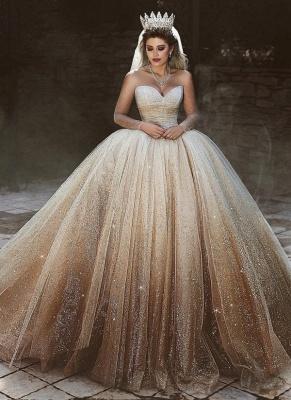 Sparkly Tüll bodenlangen Brautkleider | Scoop Long Sleeves Brautkleider mit Pailletten_1