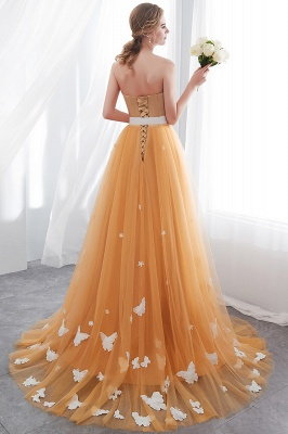 NELL | Aline Floor Length Strapless Appliques Tulle Evening Dresses with Robbion_3