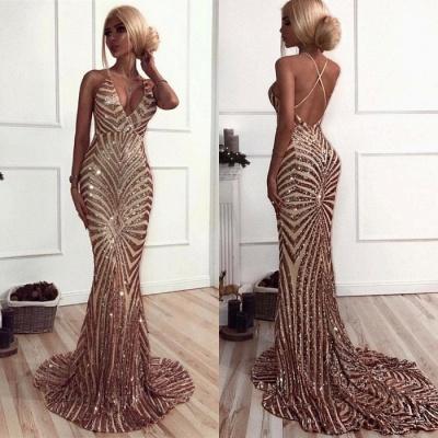 Sexy V-Neck Mermaid Prom Dress   Sequins Long Evening Dress_3