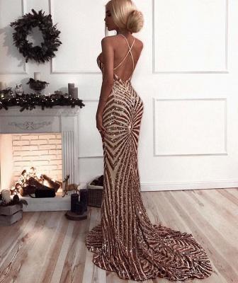 Sexy V-Neck Mermaid Prom Dress   Sequins Long Evening Dress_4