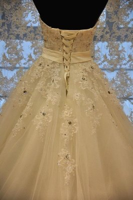 Crystal Lace Sweetheart Bridal Dresses Chapel Train Elegant Lace-Up Wedding Dresses_3