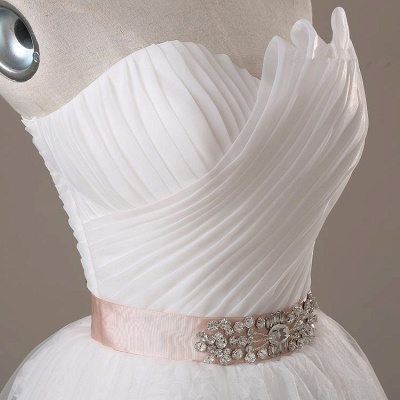Sweetheart Lace Sash Wedding Dresses Lace-Up Bowknot Sleeveless Bridal Gowns_5
