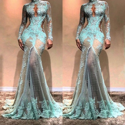 Vestido de noche de sirena de manga larga hermosa | Vestido formal de encaje_3
