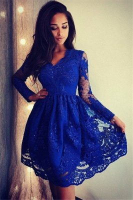 Royal Blue Long Sleeves V-Neck Homecoming Dresses  | Cheap Lace Short Homecoming Dresses