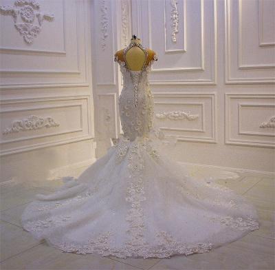 Délicate sans manches perles pure Tulle Appliques sirène robes de mariée scintillantes_4