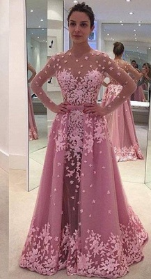 Pink Long-Sleeves Sheer Lace-Appliques Overskirt Prom Dresses