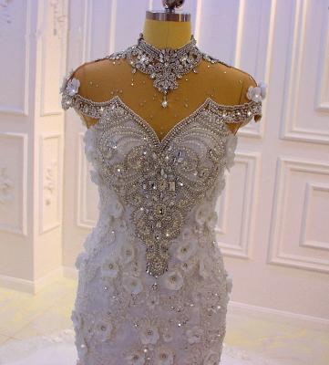 Délicate sans manches perles pure Tulle Appliques sirène robes de mariée scintillantes_2
