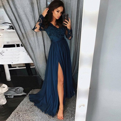 Newest Long Sleeve Lace Beads Prom Dress | Front Split Prom Dress_3