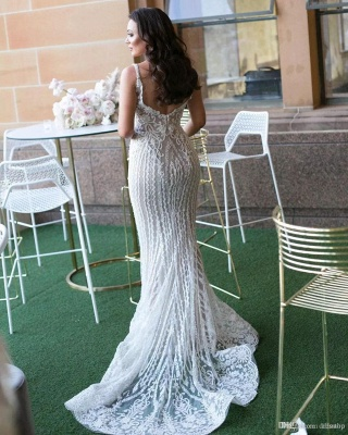 Gorgeous Lace Mermaid Wedding Dresses Cheap with Detachable Train | Straps Sexy Sleeveless Bride Dress_3