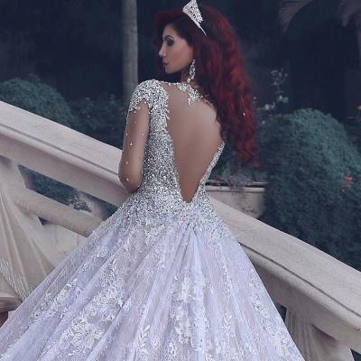 Vintage cristal musulman perles de perles robe de mariée en dentelle pure-train cathédrale_4
