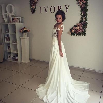 Elegant Lace Appliques Wedding Dress Long Chiffon Split_6