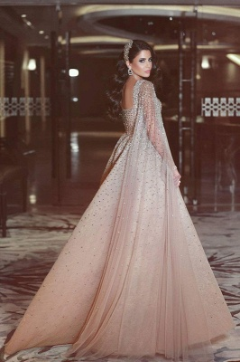 Luxurious Ruffles Crystal Evening Dress Sweetheart Long Party Gowns_3