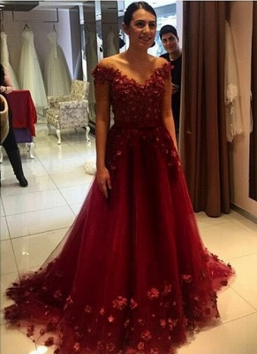 d4724238d69 Red Off-the-Shoulder 3D-Floral-Appliques Puffy Formal Formal Evening Gowns